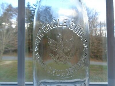 Antique WHITE EAGLE SODA CO. INDIAN ORCHARD, MASS. BOTTLE 1 PINT 12 OZ.