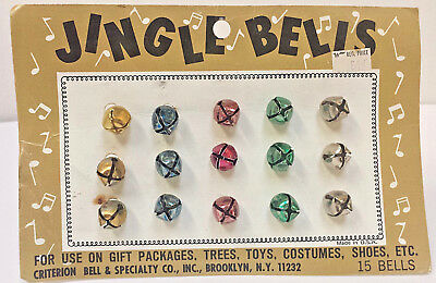 Vintage Christmas Jingle Bells Colored Metal 15 Qty New Old Stock in package