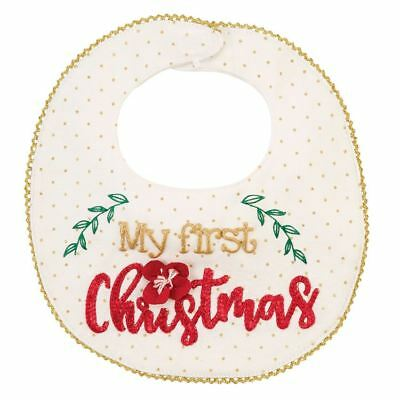 New Mud Pie My First Christmas Floral Cotton Baby Girl Holiday Bib