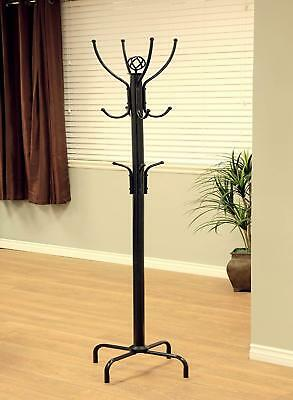 Metal Standing Hat Coat Rack Jacket Bag Clothes Hanger Hall Tree 12 Hooks Black