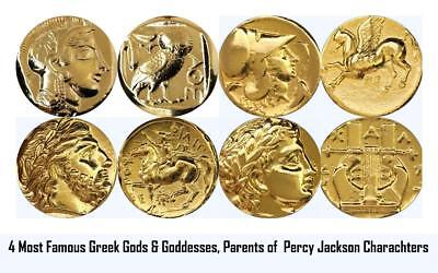 4 Top Gods & Goddess, Parents of Percy Jackson Characters, Greek Coins (TOP4-G)