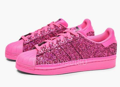 best service b6df4 58eb2 Adidas Superstar Shock Pink Out Loud Glittery Blinging Womens Trainers  BD8054