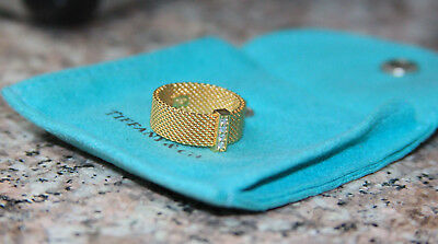 eeba59fea Tiffany & co. Somerset mesh wide band ring with diamonds in 18k gold, size