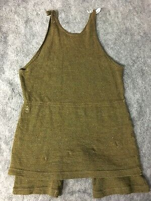 circa 1900 womens or unisex olive green bathing suit swimsuit antique vtg 40