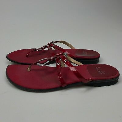 9b8639128 Stuart Weitzman Womens Red Leather Sole Silver Ring Thong Flip Flop Sandals  Sz 6