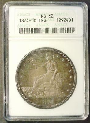 1874-Cc Trade Dollar Certified Anacs Ms62   ~210145
