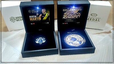 Richmond 2017 Afl Premiers Medal & Dustin Martin Brownlow Medal In Display Box