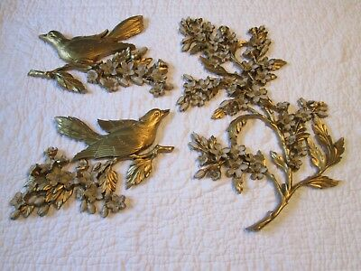 Vintage Home Interiors 1960's Wall Plaques Gold Birds & Dogwood Set Of 3 * Nice*