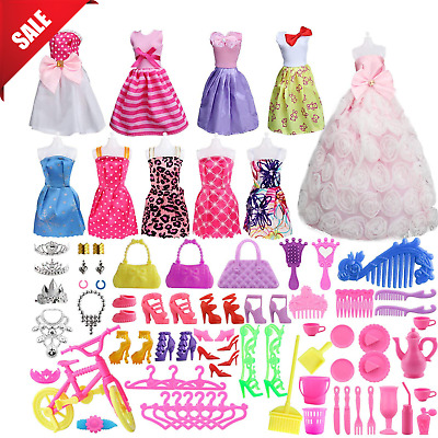 Barbie Doll Clothes Accessories Party Grown Outfits Girls Set Xmas Gift 85 Piece
