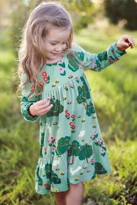 Girls Mini Boden Viscose Dress Bunny In the Meadow Green Size 3 4