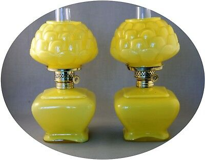 Matched Pair of Antique Consolidated ROSE Glossy Yellow Mini Oil Lamp, S1-385