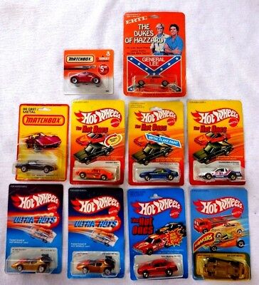 Vintage Lot of 10 Hot Wheels & Matchbox Cars from the 1980's  + ERTL General Lee