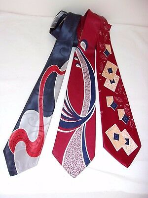 Lot of 3 -Vintage 40s 50s Neck Tie, Cravat, Rockabilly, Swing