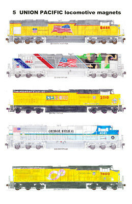 Union Pacific Tribute Locomotives Set of 5 Locomotive Magnets by Andy Fletcher