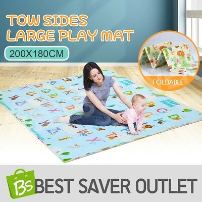 ABST Baby Play Mat Crawling Playmat Double Sides W/Animal & Alphabet 200X180CM