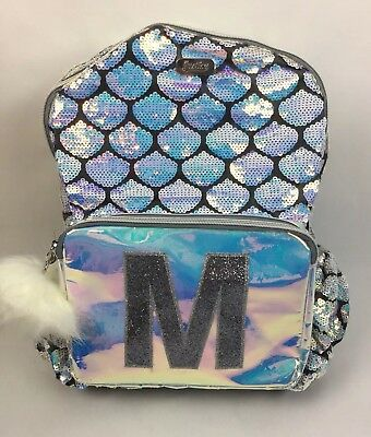 Justice Mermaid Initial M Backpack Irridescent Silver School Knapsack QLT1 D18