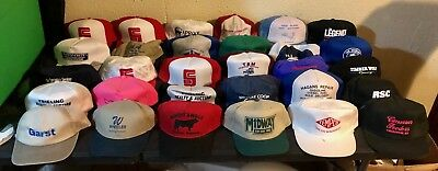 Lot Of 35 Vintage Snapback Trucker Hats Usa Kansas Coop Ford Used Cow Resell