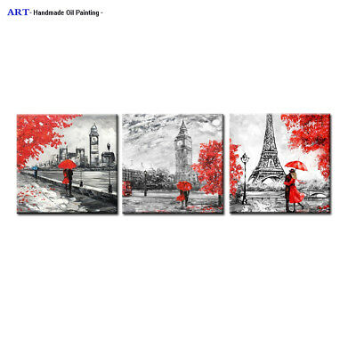 Large Abstract Paris Oil Painting Red tree Canvas Wall Art Modern Contemporary