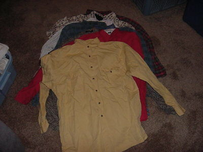 VINTAGE LOT OF 8 LONG SLEEVE BUTTON DOWN SHIRTS MENS MEDIUM LARGE & XL 70s 80s