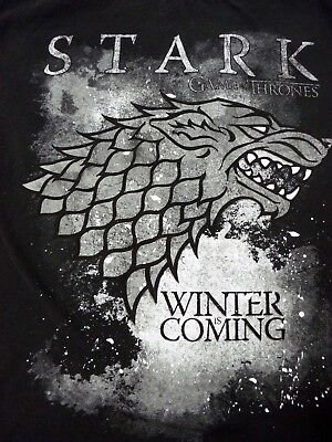 """Official Stark """"Winter is Coming"""" - Game Of Thrones - Men's Large Black T-Shirt"""