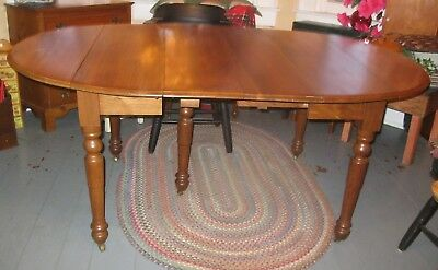 Antique American Walnut Wood Drop Leaf Table Round OR Oval w extra leaves Wooden