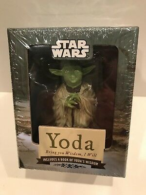 "Star Wars YODA Statue & ""Bring You Wisdom I Will"" BOOK Lucas Chronicle BRAND NEW"
