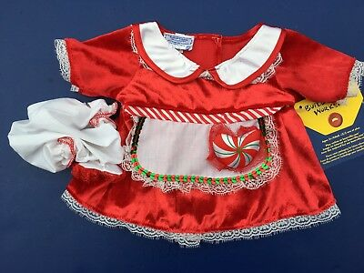 Build a Bear Clothing - Christmas Mrs. Clause Peppermint Heart Dress & Hat - New