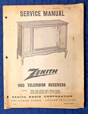 Vintage ZENITH 1963 Service Manual for Television Receivers, TV-29, TV Repair
