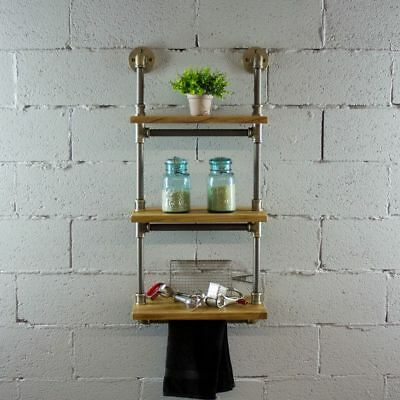 Juneau Wall Mount Floating Wood Metal Pipe Shelf Shelving Storage Display Rack