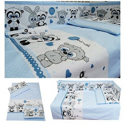 Cute Teddy Bears Blue Nursery Baby Boy Cot/ Cot bed/ Toddler Bed Bedding Set