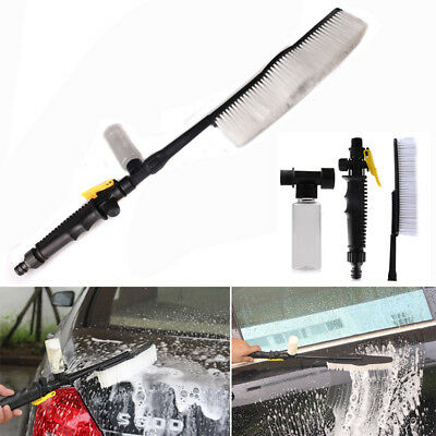 White Car Wash Brush Water Spray Cleaning Tool Soft Bristle Switch Foam Bottle