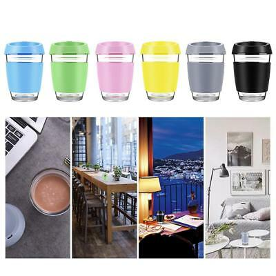 Custom Colour Glass Reusable Eco Friendly Coffee Cup Mug Silicone Lid 12oz 350ml