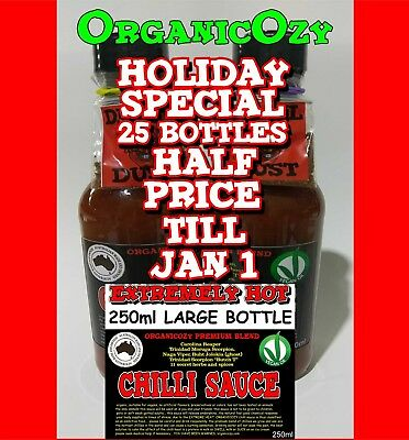 HOT CHILLI SAUCE. REAPER, GHOST, SCORPION 250 ml EXTREMELY HOT... AUSSIE GROWN