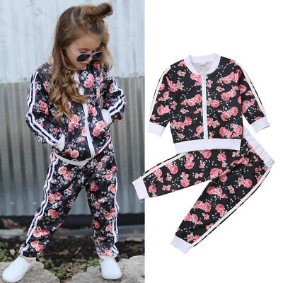 2pcs Newborn Toddler Baby Girl Floral Sweater Tops+Pants Outfits Set Clothes