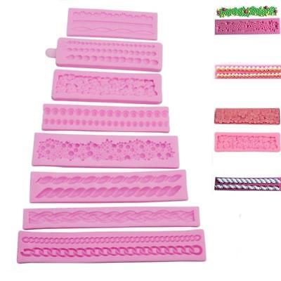 Silicone 3D Pearl String Beads Mold Cake Decorating Fondant Baking Mould Tool MA