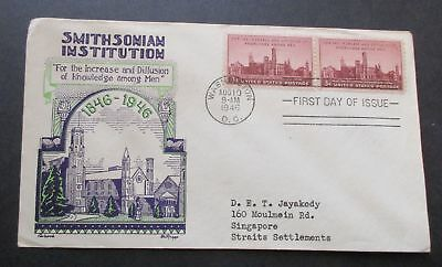 Usa  First Day Cover 1946 Smithsonian