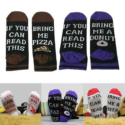 Men Women Letter If You can read this Bring Me A Pizza Printed Funny Socks Gift