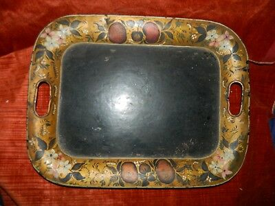 antique Old Country Kitchen Farmhouse hand painted toleware tray Apples~Flowers
