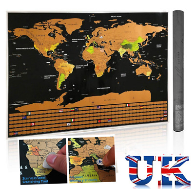 Scratch Off World Map Poster Travel Map with Country Flags ravel Log Journal UK