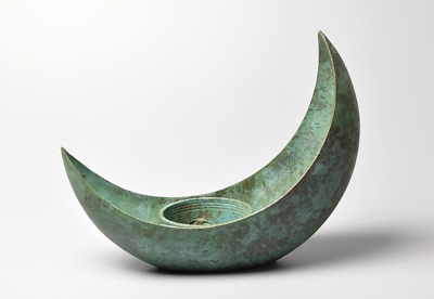 Japanese Bronze / Copper alloy Crescent Ikebana Vase by Shugo Takeaki