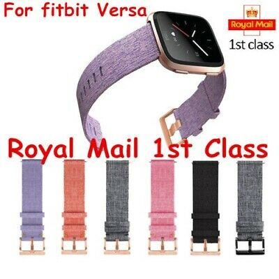 For Fitbit Versa Strap Replacement Woven Fabric With RoseGold Buckle Watch Band