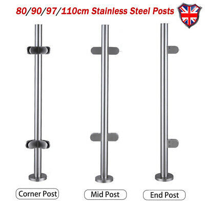 Stainless Steel Balustrade Posts Mid/Corner End Grade 316 Glass W/ Clamps+Base