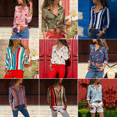 Womens Chiffon Striped Floral Blouse V Neck Long Sleeve T-shirts Casual Tops