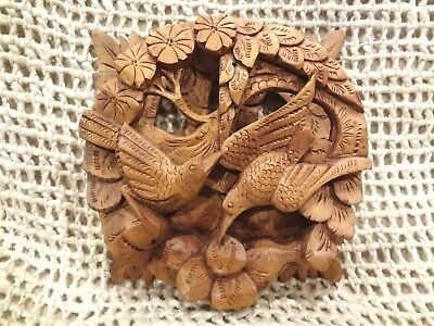 BALI Hand Carved Wooden Panel of Two Tropical Birds in Forest ~ Very Detailed