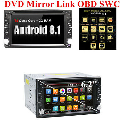 "6.2"" Car Stereo Radio Android 8.1 GPS DVD MP5 Player WiFi BT OBD DAB DVB RDS DVR"