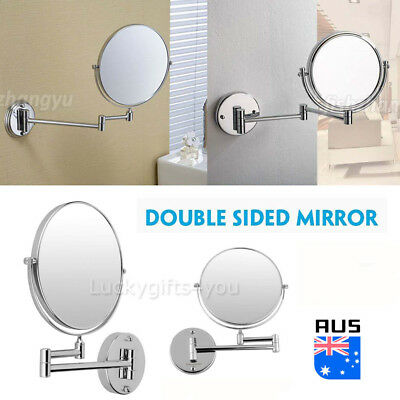 NEW Extending Magnifying Makeup Bathroom Shaving Round 2-Side Mirror Wall Mount