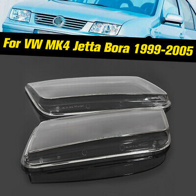 2x Replacement Plastic Headlight Lenses Cover Fit for VW Jetta MK4 Bora 99-04 UK