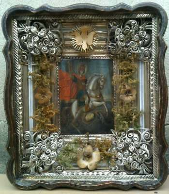 """Antique 19c Russian Hand Painted Wood Icon """"George the Victorious"""""""