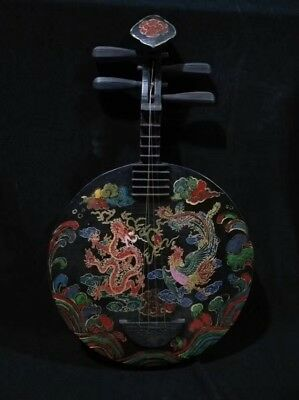 Antique china handwork lacquer painting dragon phoenix 阮 Musical Instruments two