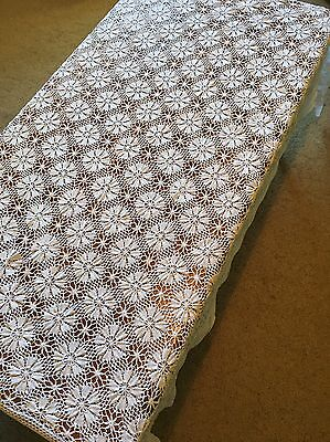 Vintage Hand Crocheted White Rectangular TableCloth Crochet Table